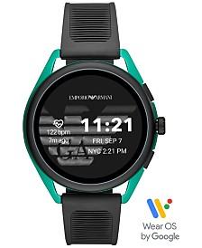 Emporio Armani Men's Black Silicone Strap Touchscreen Smart Watch 44.5mm