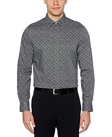 Men's Regular-Fit Stretch Etched Grid Shirt