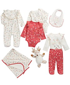 Baby Girls Reindeer Blanket, Bib, Plush Toy & Matching Outfits, Created For Macy's