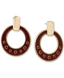 Gold-Tone Crystal & Enamel Drop Hoop Earrings