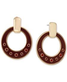 Laundry by Shelli Segal Gold-Tone Crystal & Enamel Drop Hoop Earrings