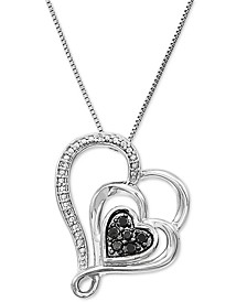 "Multi-Color Diamond Heart 18"" Pendant Necklace (1/10 ct. t.w.) in 10k White Gold"