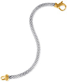 Two-Tone Mesh Link Chain Bracelet in Sterling Silver & Gold-Plate