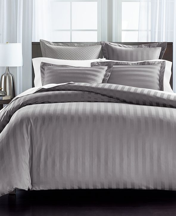 """Charter Club 1.5"""" Stripe Supima Cotton 550-Thread Count 2-Pc. Twin Duvet Cover, Created for Macy's"""