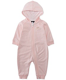 Baby Girls Hooded Dot-Print Coverall