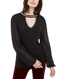 INC Studded Keyhole Sweater, Created for Macy's