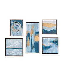Teal Rendition Gallery Art with Gold Foil and Bronze Frame 5-Pc Set