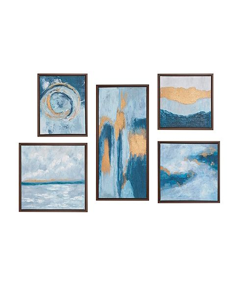 Madison Park Teal Rendition Gallery Art with Gold Foil and Bronze Frame 5-Pc Set