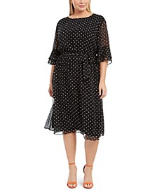 Plus Size Printed Bell-Sleeve A-Line Dress