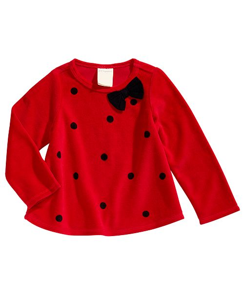 First Impressions Toddler Girls Dot-Print Velour Top, Created For Macy's