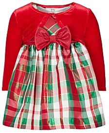 Baby Girls 2-Pc. Shrug & Plaid Dress Set
