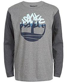 Timberland Big Boys Grafton Gray Heather Colorblocked Logo T-Shirt