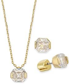 "Gold-Tone Princess-Cut Cubic Zirconia Pendant Necklace & Stud Earrings Set, 16"" + 3"" extender"