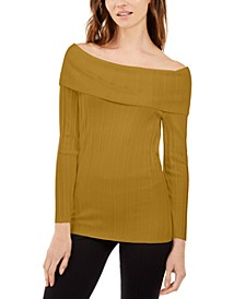 INC Off-The-Shoulder Ribbed Sweater, Created For Macy's