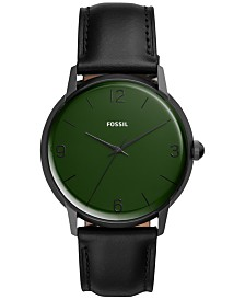 Fossil Men's Mood Black Leather Strap Watch 42mm - A Limited Edition