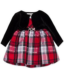 Baby Girls 2-Pc. Velvet Bolero & Plaid Dress Set