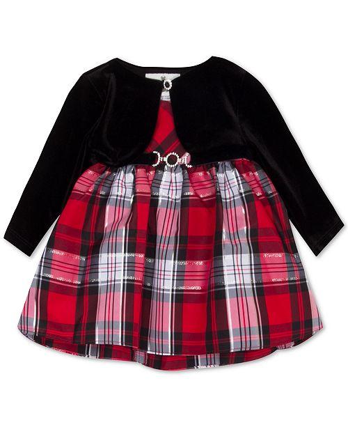 Rare Editions Baby Girls 2-Pc. Velvet Bolero & Plaid Dress Set