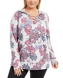 Plus Size Floral-Print Lace-Up Hoodie