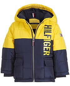 Baby Boys Jack Yellow Colorblocked Logo-Print Puffer Jacket