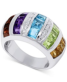 Multi-Gemstone (4-3/4 ct. t.w.) & Diamond Accent Statement Ring in Sterling Silver