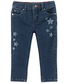 Baby Girls Glitter Star Skinny Jeans