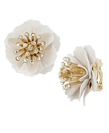 Miriam Haskell Flower Clip-On Earrings