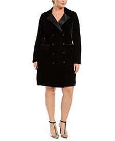 Trendy Plus Size Velvet Tuxedo Dress