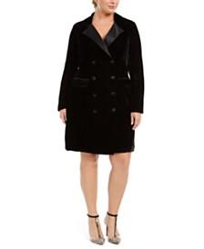 City Studios Trendy Plus Size Velvet Tuxedo Dress