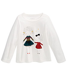 First Impressions Baby Girls Sisters-Print Cotton T-Shirt, Created For Macy's