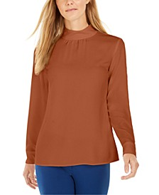 Petite Mock-Neck Top