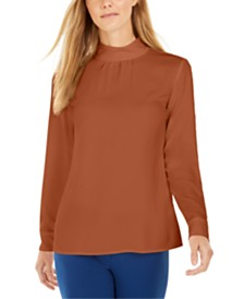 Calvin Klein Mock-Neck Long-Sleeve Top
