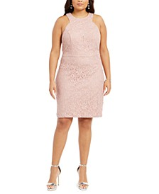 Trendy Plus Size Lace Bodycon Dress