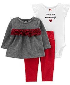 Baby Girls 3-Pc. Ruffled Top, Love My Mommy Bodysuit & Leggings Set