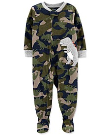 Toddler Boys 1-Pc. Camouflage Dino-Appliqué Fleece Footie Pajamas