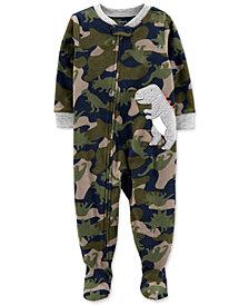 Carter's Toddler Boys 1-Pc. Camouflage Dino-Appliqué Fleece Footie Pajamas