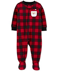 Toddler Boys Checkered Footed Santa Pajamas