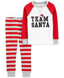 Baby Unisex 2-Pc. Cotton Team Santa Pajama Set