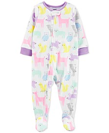 Baby Girls Footed Fleece Woodland Creatures Pajamas