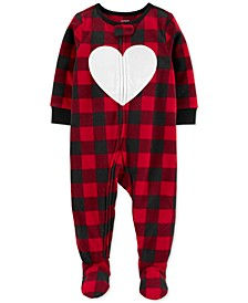 Baby Girls Footed Fleece Heart Pajamas