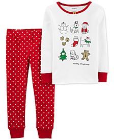 Baby Girls 2-Pc. Meowy Christmas Snug Fit Cotton Pajamas Set