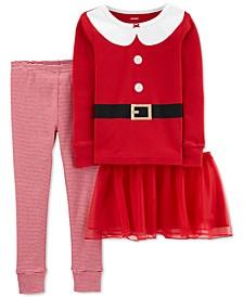 Baby Girls 3-Pc. Santa Top, Tutu & Pajama Set