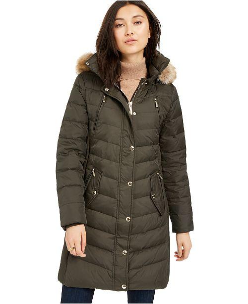 Michael Kors Faux-Fur-Trim Hooded Chevron Down Puffer Coat, Created For Macy's