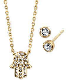 2-Pc. Set Cubic Zirconia Mini Hamsa Hand Pendant Necklace & Stud Earrings in Gold-Tone Fine Plated Silver, Created for Macy's