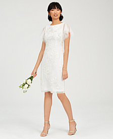 Adrianna Papell Embroidered Illusion Sheath Dress