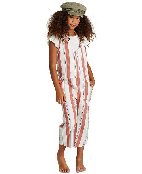Billabong Big Girls Striped Cropped Overalls