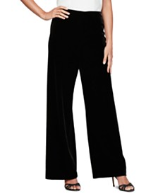 Alex Evenings Petite Velvet Flat-Front Pants