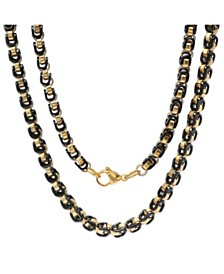 "Steeltime Men's black IP and 18k gold Plated Stainless Steel 24"" Byzantine Chain Necklaces"