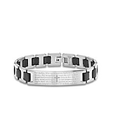 "Men's Stainless Steel black Rubber Bracelet with ""Lords Prayer"" Bracelet"