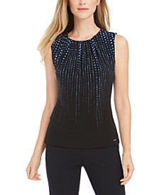 Pleated-Neck Dot-Print Blouse