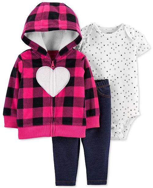 Carter's Baby Girls 3-Pc. Hooded Jacket, Bodysuit & Pants Set